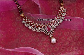 Black Beads Sets Diamond Lockets - Jewellery Designs