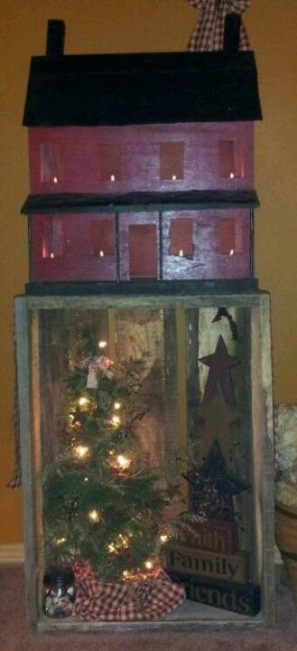 Love the old barnwood box <3 looks like little shelves inside the house under the windows to hold the battery votives!! great idea! will have him make one and also add to the one i already have