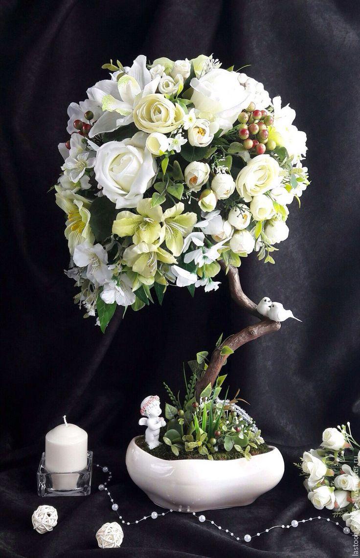 """Купить Топиарий """"Надежда"""" - топиарий, Дерево счастья, деревце, интерьерная композиция, салатовый, зеленый, роза"""