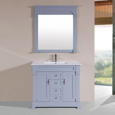Pacific Collection 40'' Balboa Gray Single Traditional Bathroom Vanity with Integrated Sink PVN-BALBOA-40-SNG-GR-INT at DiscountBathroomVanities.com