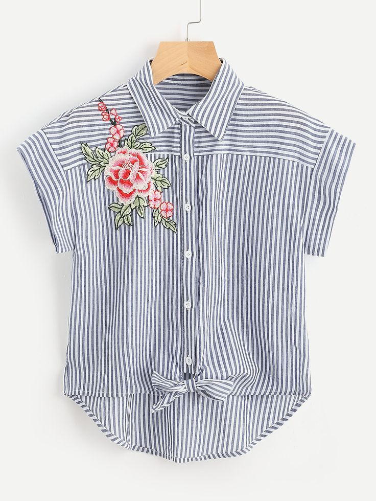 Shop Embroidered Flower Applique Knot Front Striped Shirt online. SheIn offers Embroidered Flower Applique Knot Front Striped Shirt & more to fit your fashionable needs.