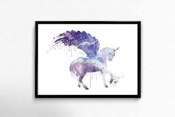 Unicorn Watercolour Art Print Unicorn Wall Art Unicorn by artRuss