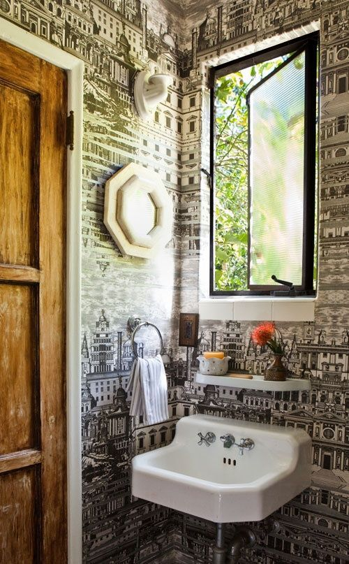 small bathroom 0 love the paper - what if I papered back wall of bathroom with world map???