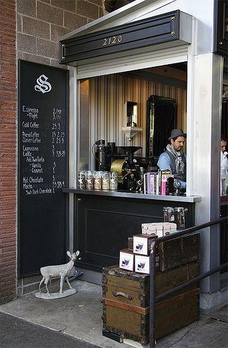 Sterling Coffee Roasters in Portland - what a great use of space. Beautifully detailed and styled.