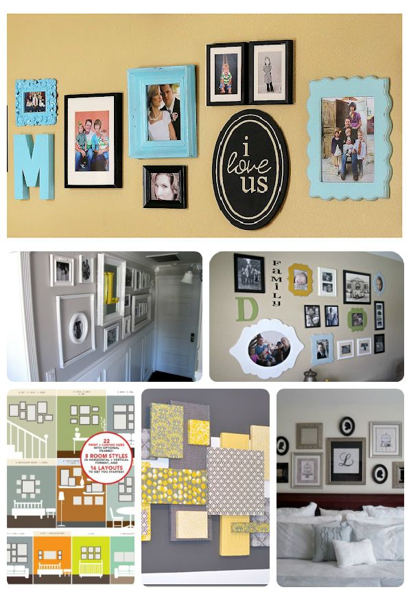 25 Ideas for decorating your walls!  Perfect for my empty living room wall!!!