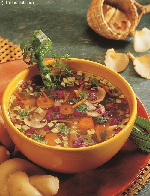 Lemon Coriander Soup recipe   Coriander Clear Soup   by Tarla Dalal   Tarladalal.com   #4113