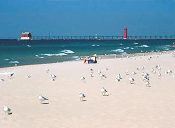 One of many beautiful MI beaches... Grand Haven State Park.