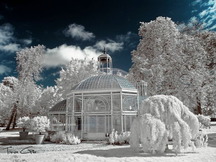 Eiffel glass house shot in infrared. Gradignan. France.
