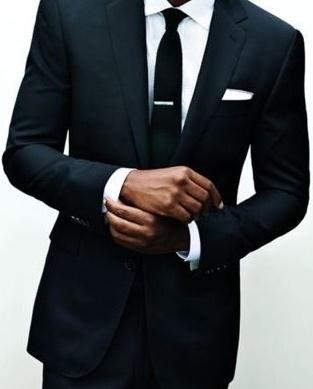Black, tailored, cuffs, skinny black tie.