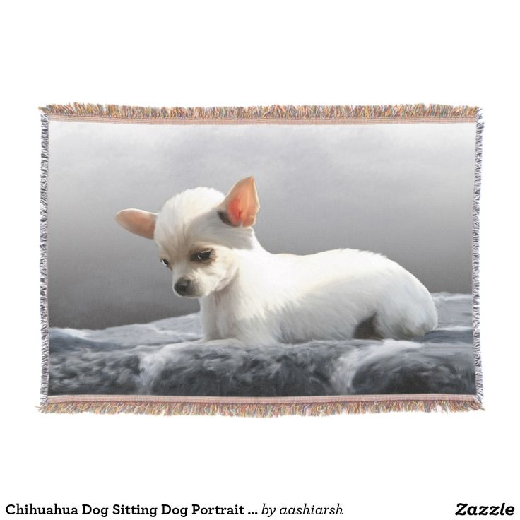 #Chihuahua Dog Sitting #Dog #Portrait Art #Painting #Throw #Blanket #animal #puppy