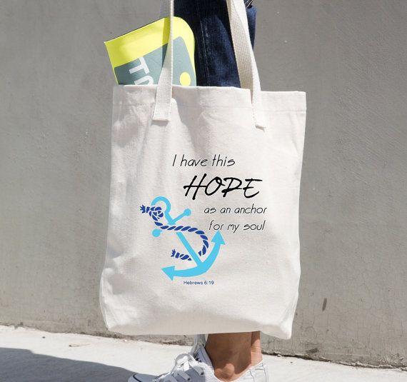 Ik heb deze hoop als een anker voor mijn ziel. Hebreeën 6:19, American Apparel Tote tas, bijbel vers tas, anker kunst, Canvas tas, TOTE112