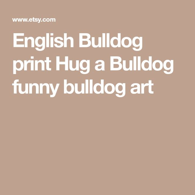 English Bulldog print Hug a Bulldog funny bulldog art