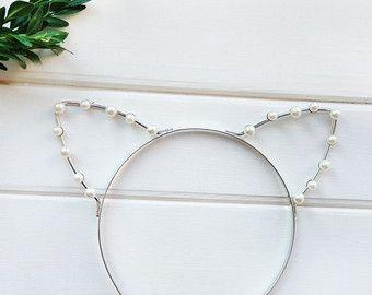Pearl Cat Ears Headband Kitty Ears Headband Cat Ears by beauxoxo