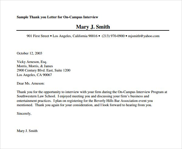 Sample Thank You Letter Sample Thank You Letter After Job Interview