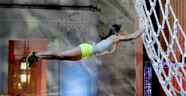 Kacy Catanzaro flies! She's the first female to make it all the way to the end of the American Ninja Warrior course  (in the Dallas Qualifier)