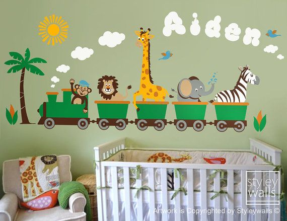 This Safari Jungle Animals Train wall decal set will add the final touch to the nursery or playroom. Available sizes are: 52w x 21h 100w x 42h ( size of the sample picture) The decal comes in separate pieces for easy application. [COLORS] You can choose totally 8 colors for this