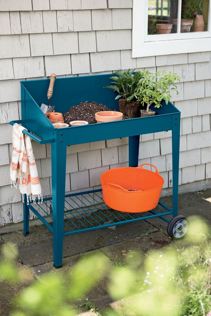 Demeter Metal Potting Bench With Wheels Mobile Potting