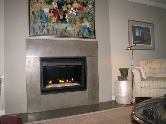 New Concrete Over Old Brick Fireplace Fireplaces