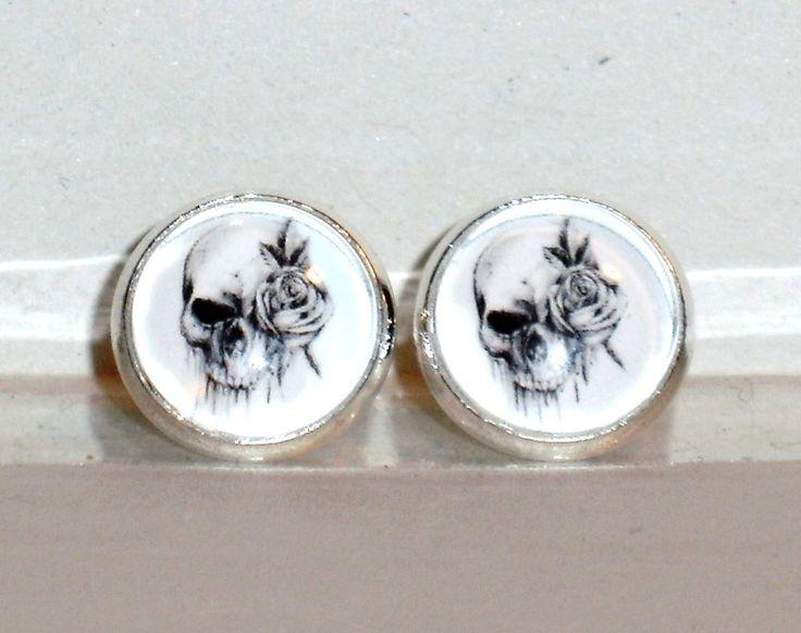 Ohrstecker Totenkopf Damen Ohrringe Ohrschmuck Modeschmuck Glas Cabochon