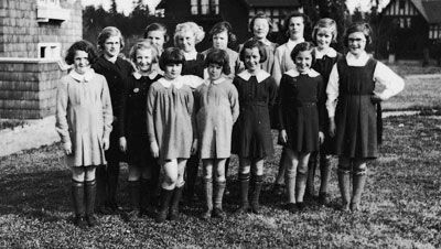 Group of girls outside the Fairbridge Farm School, Duncan 1930s. Reproduced courtesy Royal BC Museum, BC Archives I-68569.