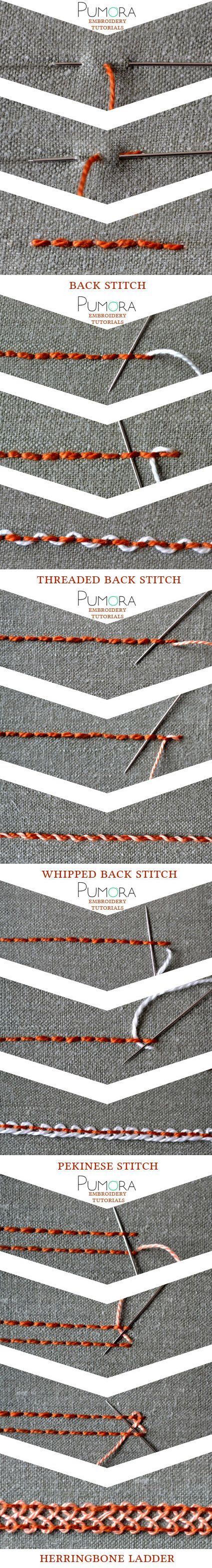 embroidery tutorials: backstitch with variations bordado, ricamo, broderie, sticken                                                                                                                                                                                 Más