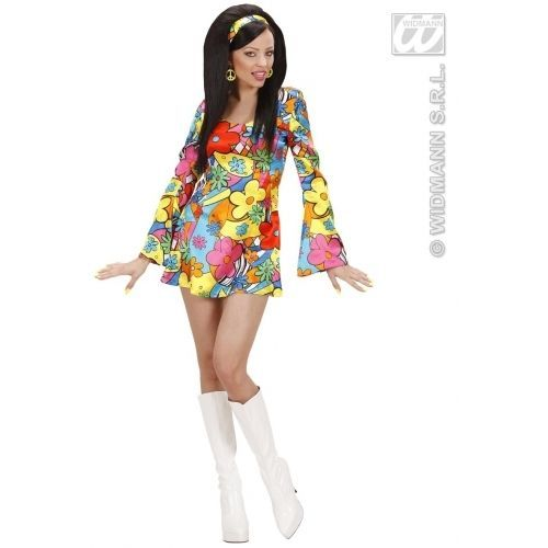 Ladies Womens Flower Power Girl Costume Outfit for 60s 70s Fancy Dress | eBay