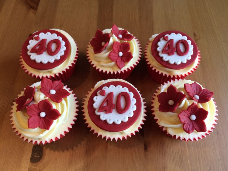 Ruby Wedding Anniversary Cake Ideas: Ruby Wedding Cupcakes 40 Years Together!