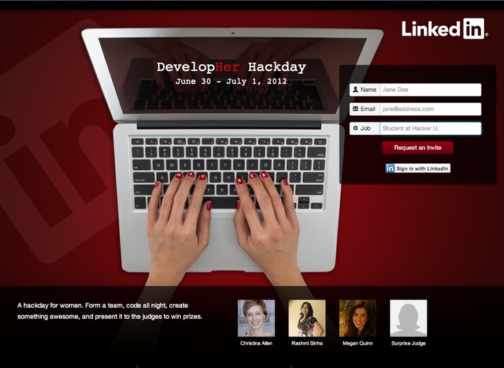 Developer Hackday site at http://hackday.linkedin.com/developher/2012