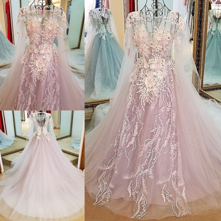 AHS052 New Arrival A-Line Tulle Train Prom Dresses with Flower Appliques 2017