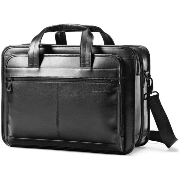 Samsonite Leather Expandable Laptop Briefcase (€93) ❤ liked on Polyvore featuring men's fashion, men's bags, men's briefcases, black, mens leather briefcase and mens leather laptop briefcase