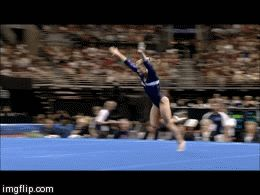 Shawn Johnson gif. 2008 Olympic Trials Day 2 Floor Exercise, first pass, double double #gymnastics