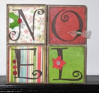 My idea: Use canvases instead of wood blocks...use Cricut for the lettering. From: Idea Closet: Christmas