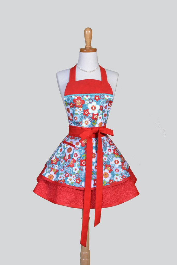 Ruffled Retro - Vintage Style Red and Teal Floral Womans Apron - Creative Chics - 1