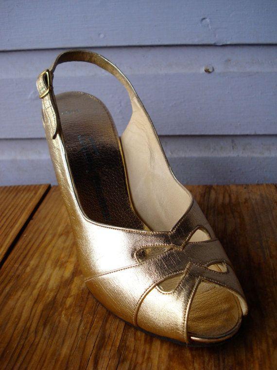 Vintage Gold Peep Toe Shoes