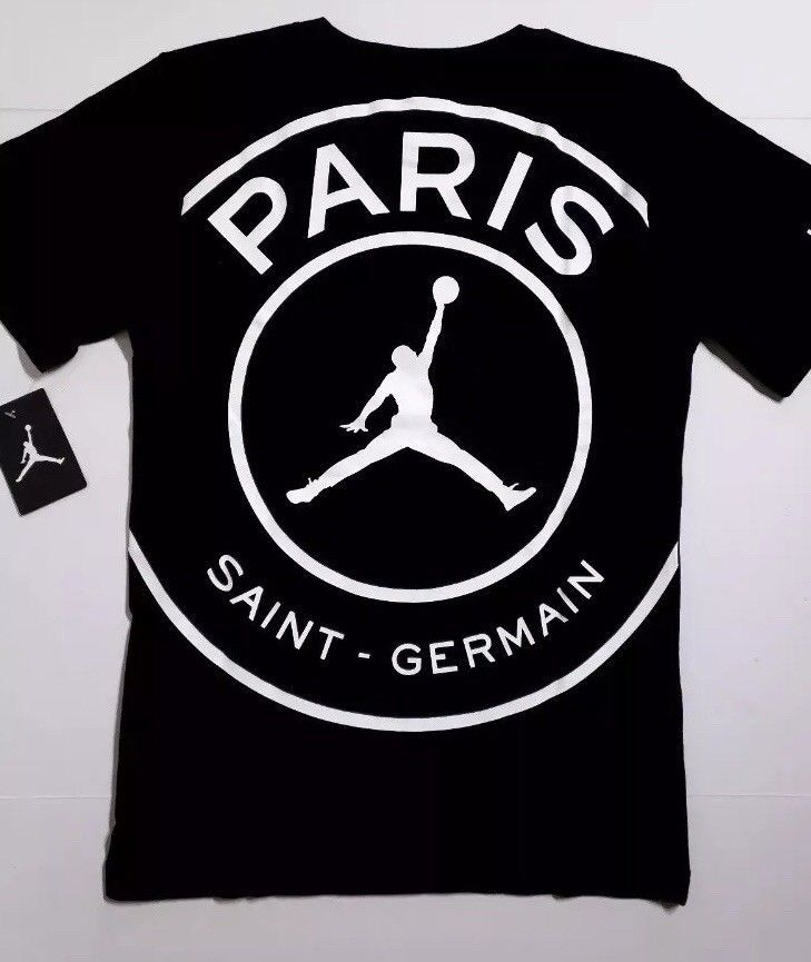 f860f8e9d44 Nike Jordan X PSG Paris Saint Germain Black Cotton Big Logo T-Shirt ...