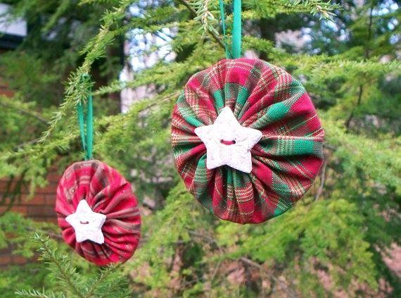 fabric yo yo christmas ornaments