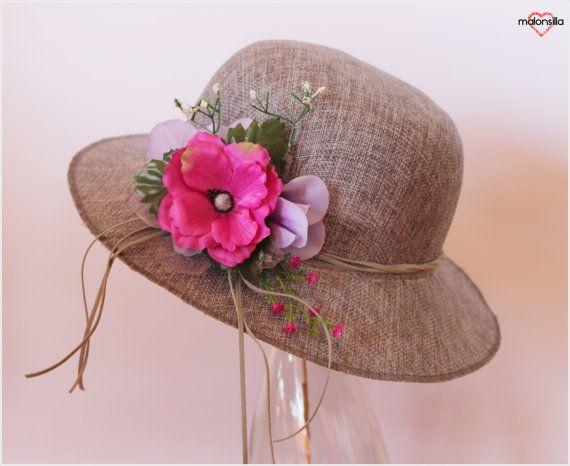 Sombrero gris con flores para mujer. Verano. por malonsilla en Etsy, €24.50