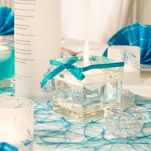 Glaswrfel mit Satinband in Trkis  Tischdekoration Trkis meinehochzeitsdekode