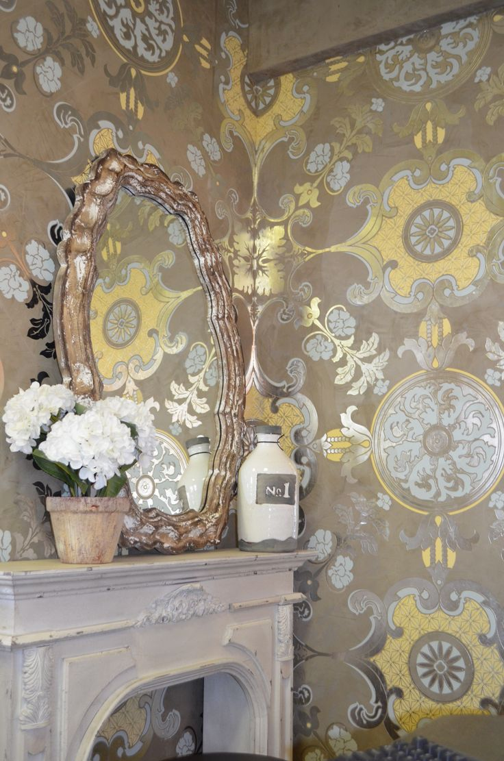 Hand Stencil Over Venetian Plaster Fake Fireplace Accessories Light Mirror Stenciling WallsPainting StencilsWallpaper StencilWallpaper Ideas Faux