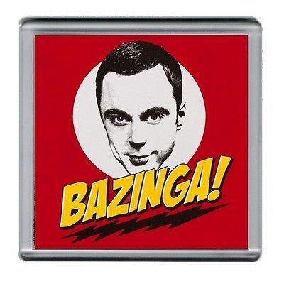 BAZINGA The Big Bang Theory Sheldon Cooper Coaster 4 X 4 inches