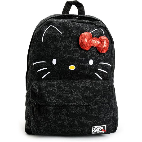 Vans Hello Kitty Blueprint Black Backpack (150 BRL) ❤ liked on Polyvore featuring bags, backpacks, bolsas, sac, accessories, backpack travel bag, travel bag, print backpacks, travel daypack and travel rucksack