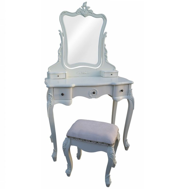 This is Antique White Dressing Table & Stool's colour is White and made of Wood.  The height of this Antique White Dressing Table & Stool is 77 cm and the width is 88 cm and the depth is 45 cm.  http://www.bonsoni.com/antique-white-dressing-table-stool