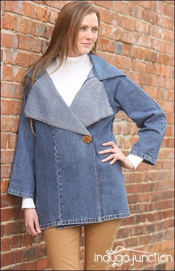 Crossroads Trench sewing pattern by Indygo Junction created in recycled denim jeans