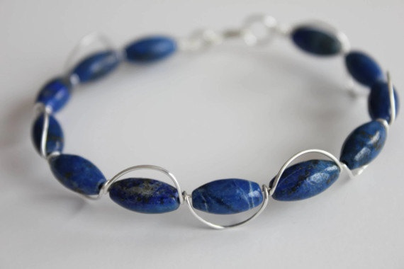 Lapis Lazuli Bracelet Sterling Silver Wire Wrapped by storyleaf, $36.00