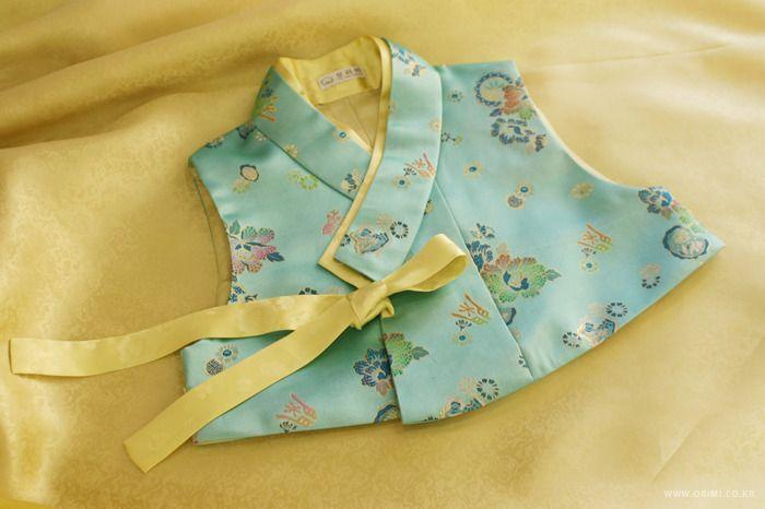오리미한복 :: 민트색 배자와 진분홍 저고리, 노랑 치마의 상큼한 오리미 신부 한복