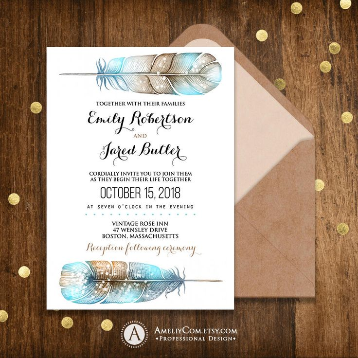 wedding invitations unique diy%0A Printable Wedding Invitation Rustic Fall Wedding Invite Boho Teal Feathers Invitation  Wedding Template DIY Editable Text