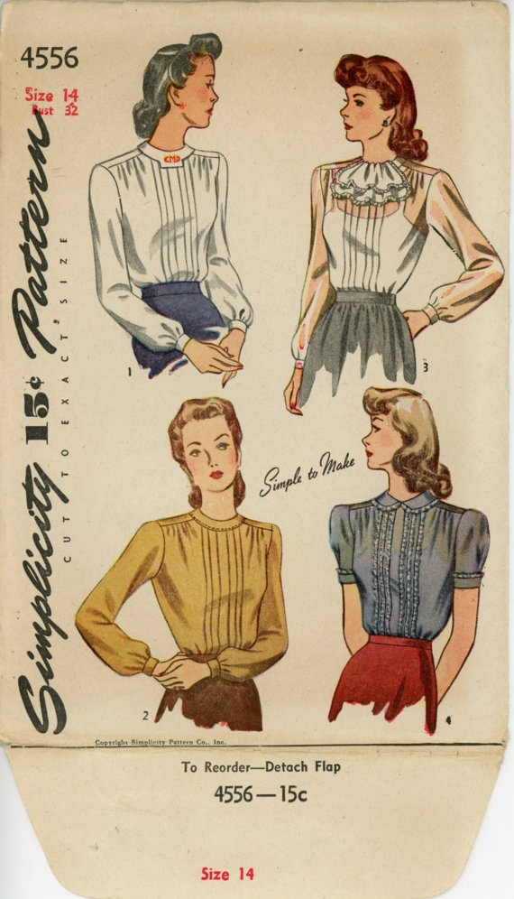 1940s Blouse Pattern Simplicity 4556 Misses Pin by CynicalGirl, $18.00