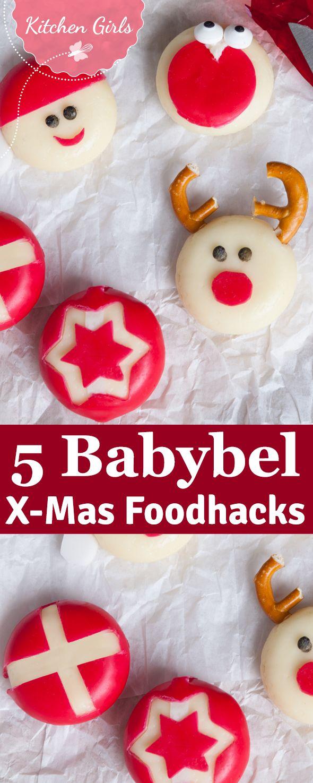 Wir zeigen euch 5 blitzschnelle Foodhacks mit Babybel. Der weihnachtlich verzierte Käse ist eine supersüße Deko-Ideen für das Weihnachtsbuffet.