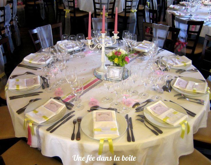 Deco Table Ronde Mariage #15: Mariage Romantique En Rose, Gris Et Jaune Pale Table Ronde à Dominante Jaune