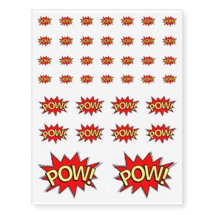 Sheet of 38 – POW! Superhero Comic Book Temporary Tattoos | Zazzle.com – bags